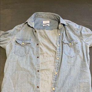 Button down long sleeve shirt denim